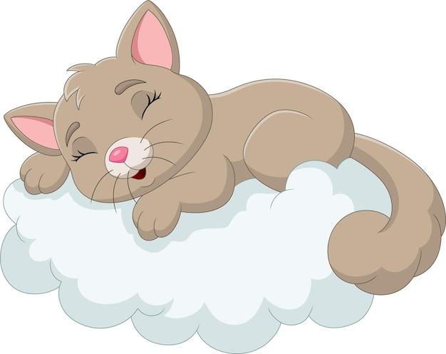 Cartoon baby cat sleeping on the clouds