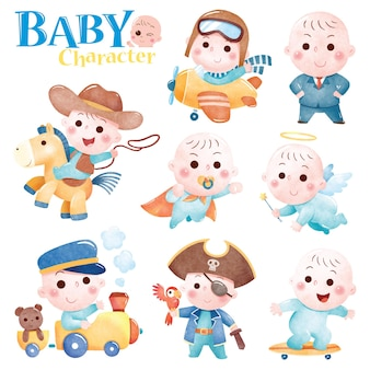 Cartoon baby character cute baby