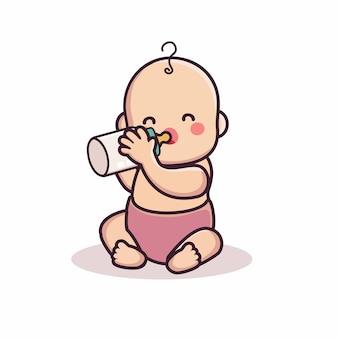 牛乳おしゃぶりを飲む漫画の赤ちゃんのキャラクター