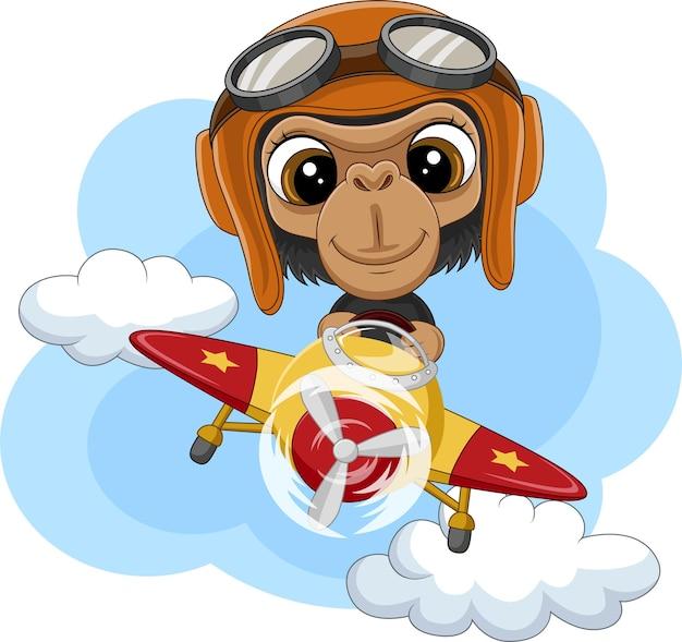 비행기를 운영하는 만화 아기 침팬지