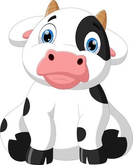 座ってポーズをとる漫画の赤ちゃん牛