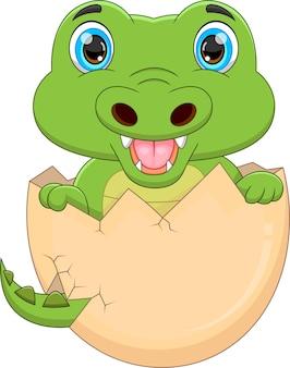 Cartoon baby crocodile hatching from egg