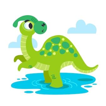 Иллюстрированный мультяшный динозавр