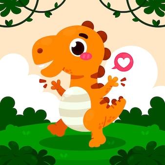 図解された漫画の赤ちゃん恐竜