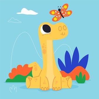 Мультяшный маленький динозавр сидит
