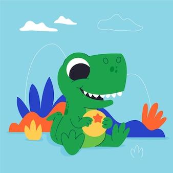 座っている漫画の赤ちゃん恐竜