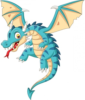 Cartoon baby dragon flying on white background