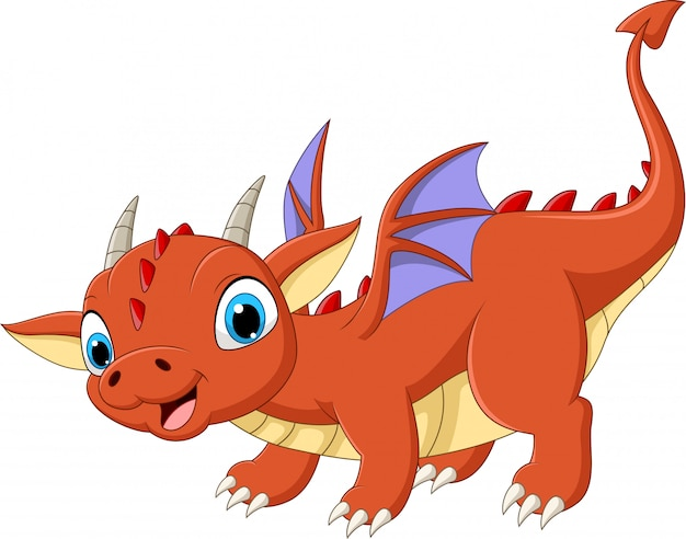 Cartoon baby dragon on white
