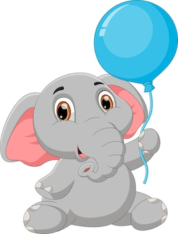 バルーンを保持している漫画の赤ちゃんゾウ