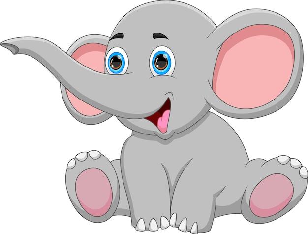 白い背景で隔離の漫画の赤ちゃん象