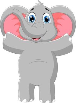 만화 아기 코끼리 흔들며