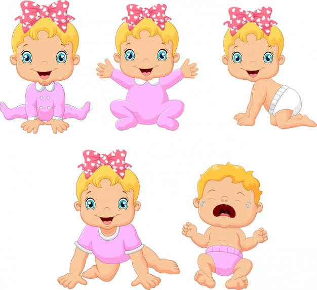 Cartoon baby girl in different expressions