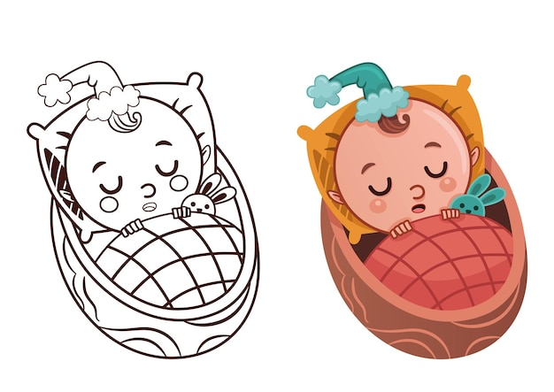 Cartoon baby gnome character coloring page for painting activity vector illustration