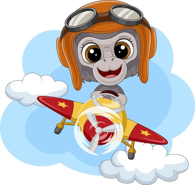 비행기를 운영하는 만화 아기 고릴라