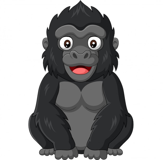 Cartoon baby gorilla on white background