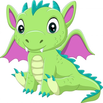 Cartoon baby green dragon sitting