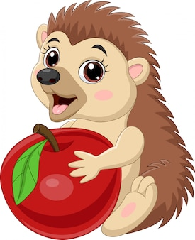 Мультяшный маленький ежик держит красное яблоко