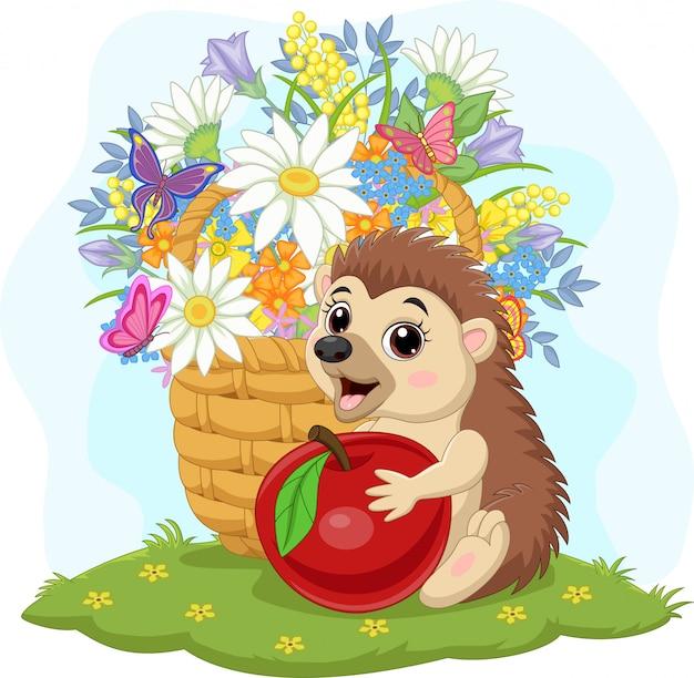 Мультяшный маленький ежик с яблоком и цветами в корзине