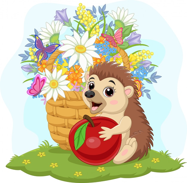 Cartoon baby hedgehog with apple and flowers in the basket