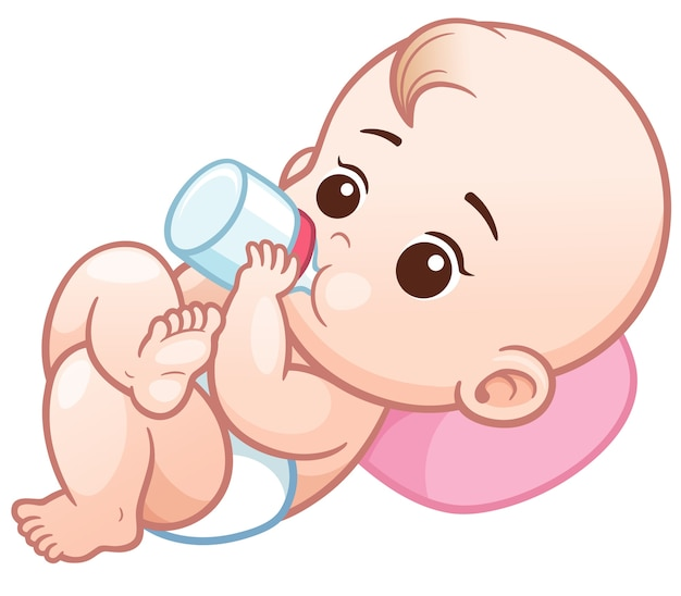 Cartoon baby holding a milk bottle