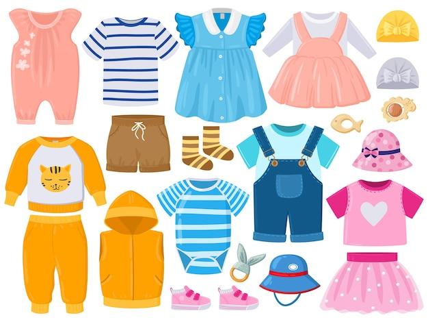 만화 아기 아이 소녀와 소년 옷, 모자, 신발. 어린이 패션 의류, 장난 꾸러기, 반바지, 드레스 및 신발 벡터 일러스트 레이 션 세트. 아기 만화 의상 프리미엄 벡터