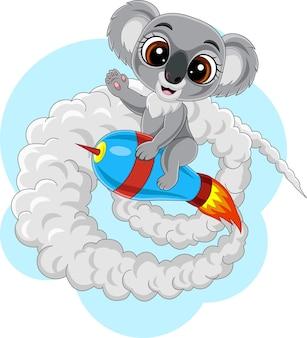 만화 아기 코알라 타고 로켓