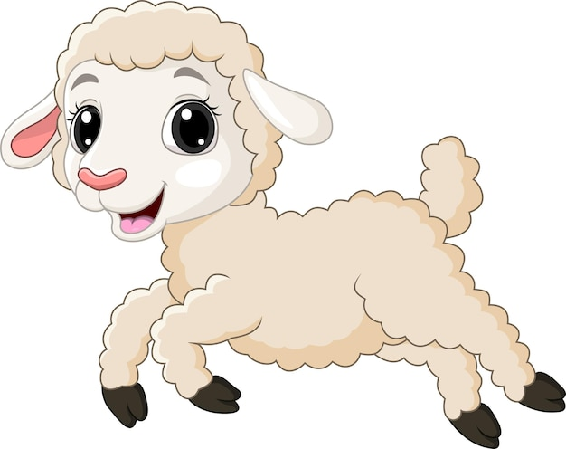 Cartoon baby lamb running on white