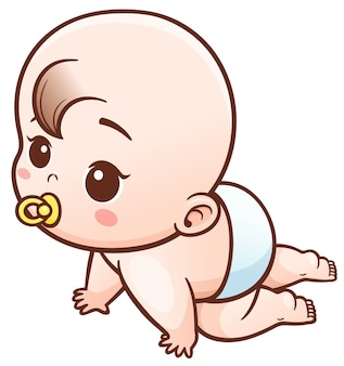 Cartoon baby learn to crawl
