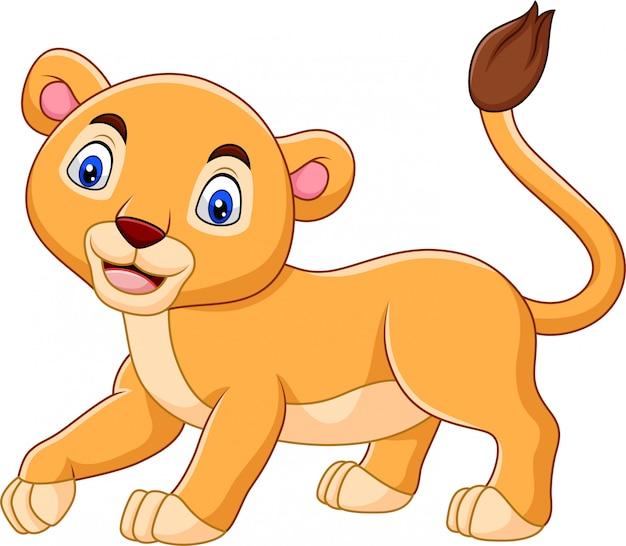 白い背景で隔離の漫画赤ちゃんライオン
