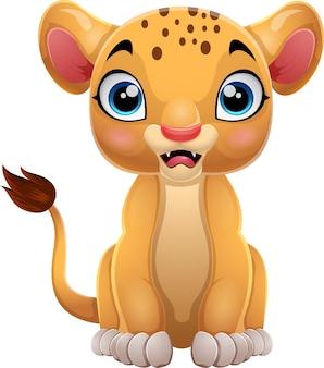 Cartoon baby lioness on white