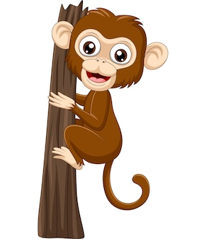 Cartoon baby monkey climbing tree branch