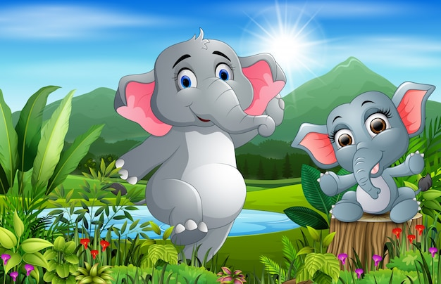 Cartoon baby and mother elephant in a beautiful nature