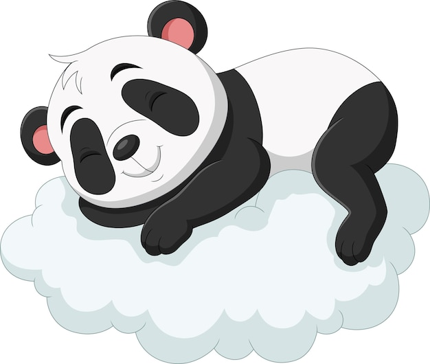 Cartoon baby panda sleeping on the clouds