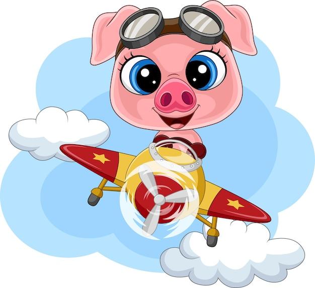 비행기를 운영하는 만화 아기 돼지