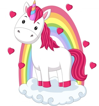 Cartoon baby pony unicorn standing on clouds with rainbow