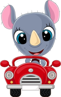 Мультяшный носорог за рулем красной машины