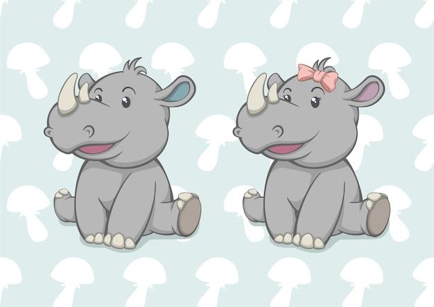 만화 아기 코뿔소 소년과 소녀