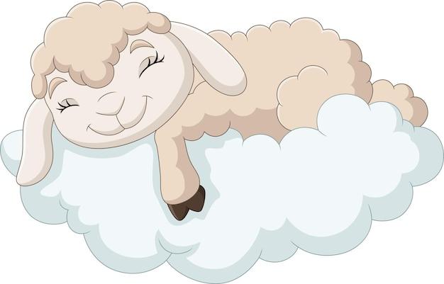 Cartoon baby sheep sleeping on the clouds