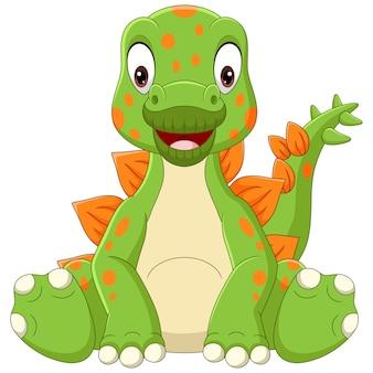 Cartoon baby stegosaurus dinosaur sitting