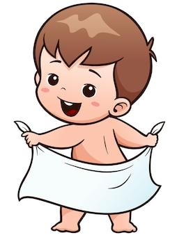 Cartoon baby take a bath