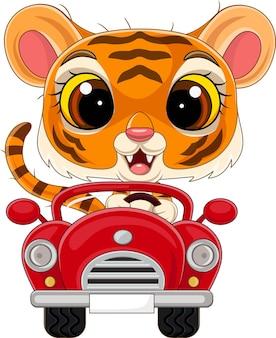 Мультяшный тигренок за рулем красной машины