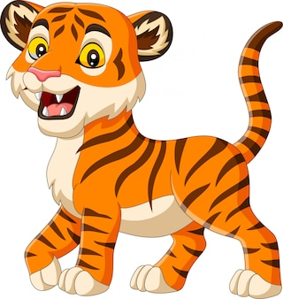 Cartoon baby tiger isolated