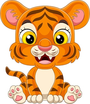Cartoon baby tiger sitting isolated on white background