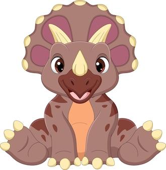 座っている漫画の赤ちゃんトリケラトプス恐竜
