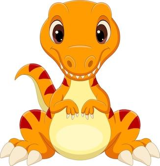 座っている漫画の赤ちゃんティラノサウルス恐竜