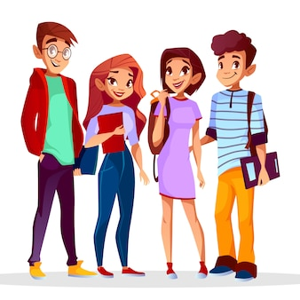 Cartoon back to college concept with cheerful students set.