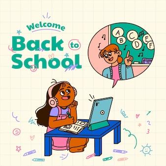 Cartoon back to school background
