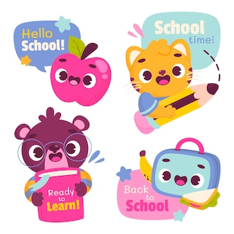 Cartoon back to school badges collection