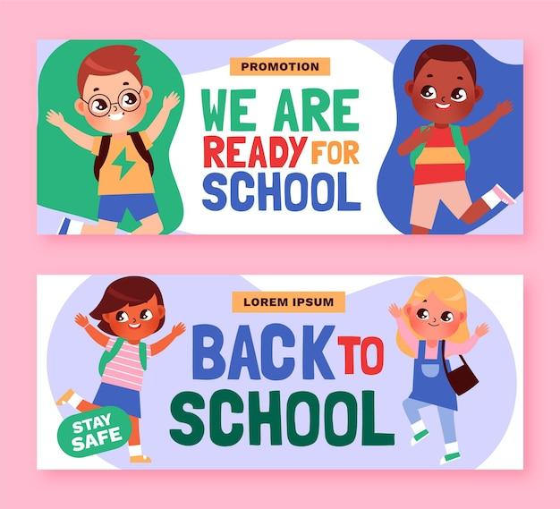 Cartoon back to school banners set