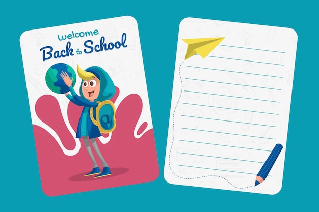 Cartoon back to school card template